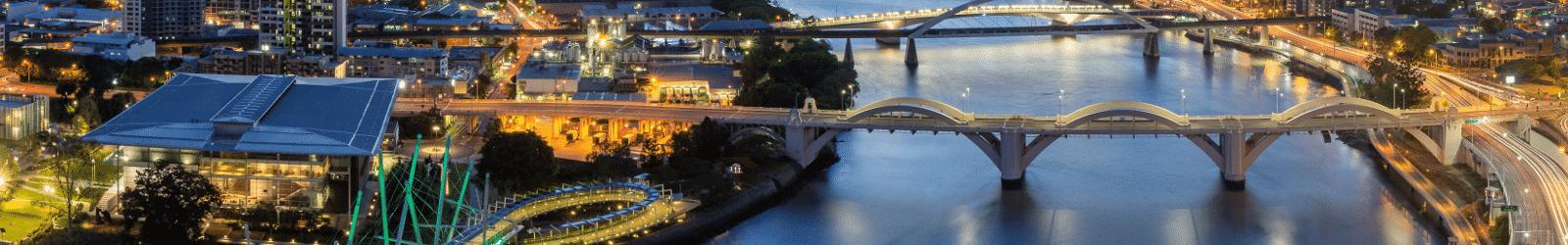 Une vue aérienne de Brisbane en Australie, destination idéale pour votre prochain WHV.